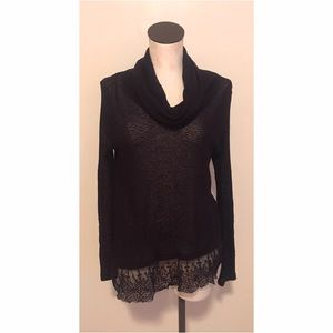 Anthropologie lace ruffle cowl neck knit tunic